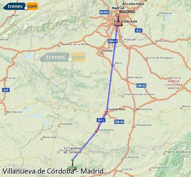 Enlarge map Trains Villanueva de Córdoba to Madrid