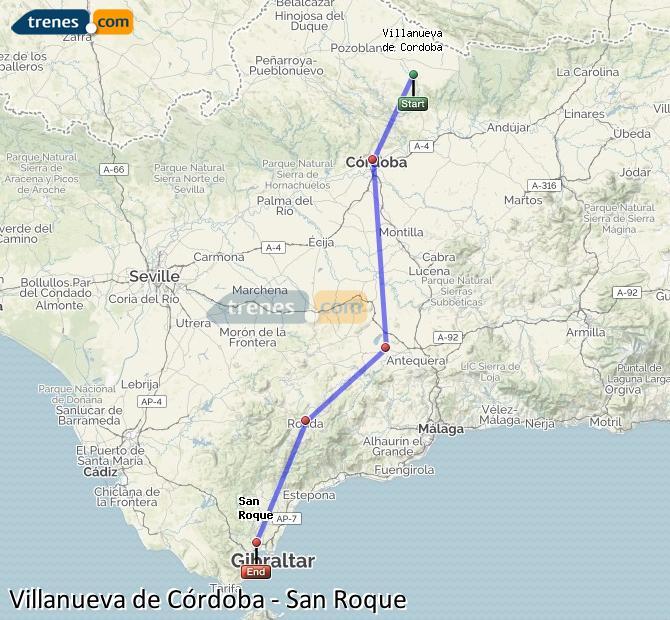 Karte vergrößern Züge Villanueva de Córdoba San Roque