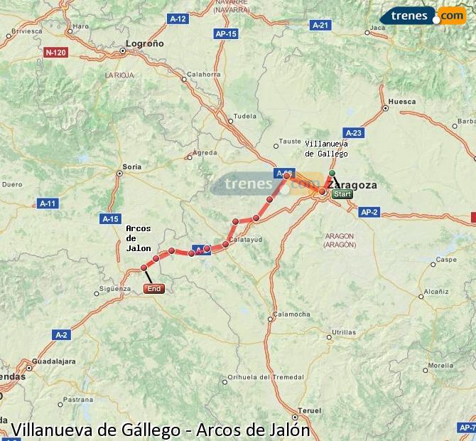 Agrandir la carte Trains Villanueva de Gállego Arcos de Jalón