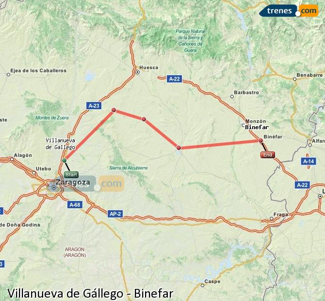 Ampliar mapa Comboios Villanueva de Gállego Binefar