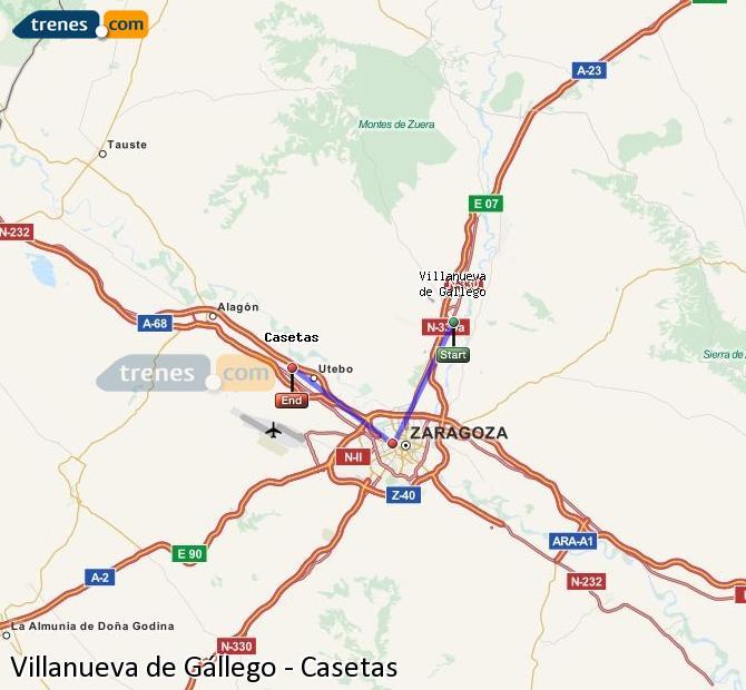 Ampliar mapa Trenes Villanueva de Gállego Casetas