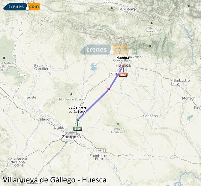 Ampliar mapa Trenes Villanueva de Gállego Huesca