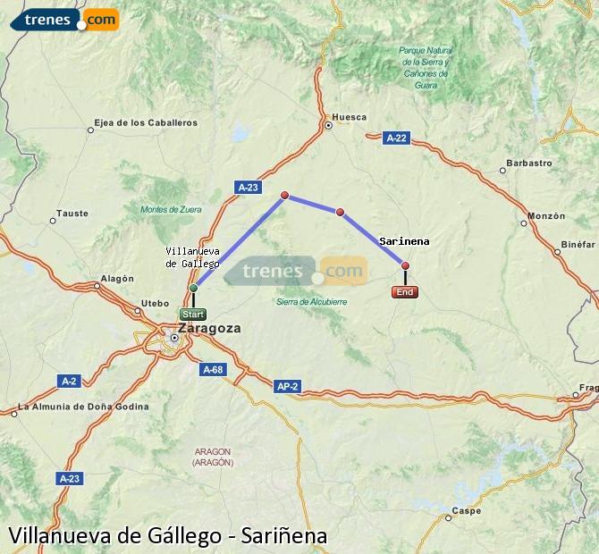 Ingrandisci la mappa Treni Villanueva de Gállego Sariñena