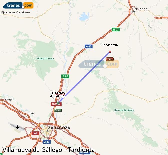 Karte vergrößern Züge Villanueva de Gállego Tardienta