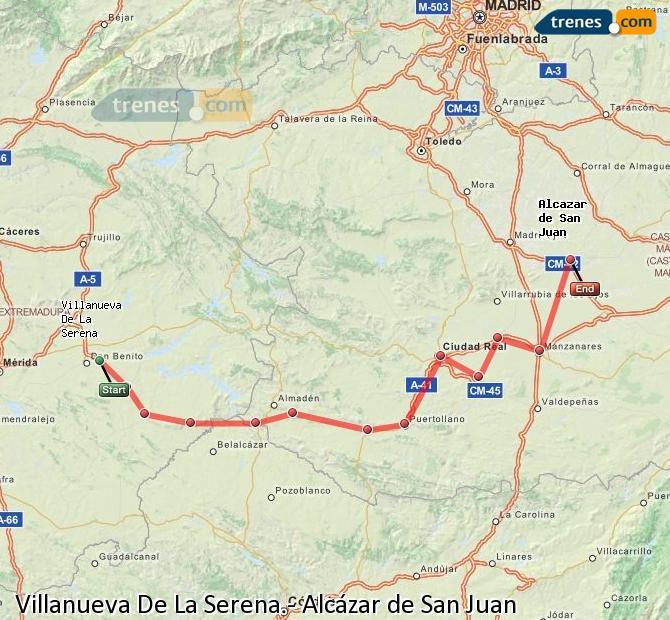 Enlarge map Trains Villanueva De La Serena to Alcazar de San Juan