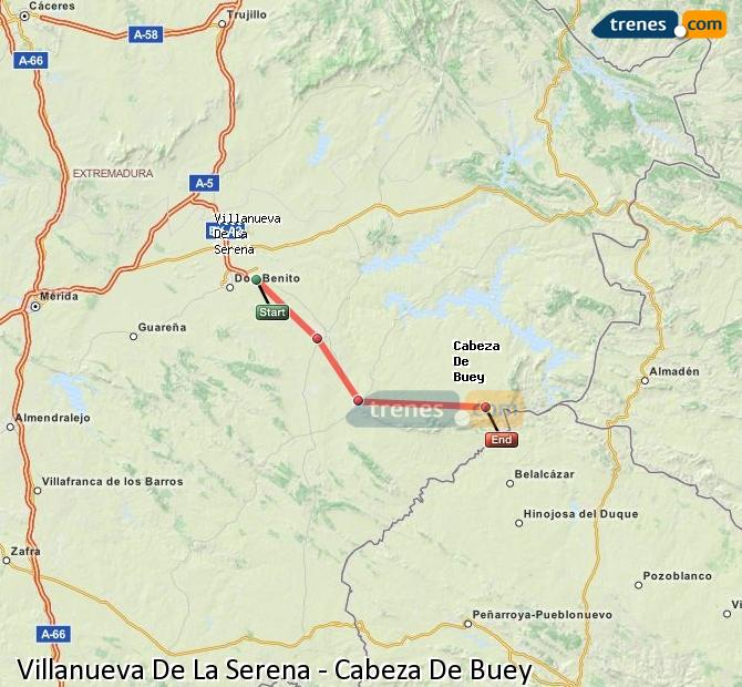 Ingrandisci la mappa Treni Villanueva De La Serena Cabeza De Buey