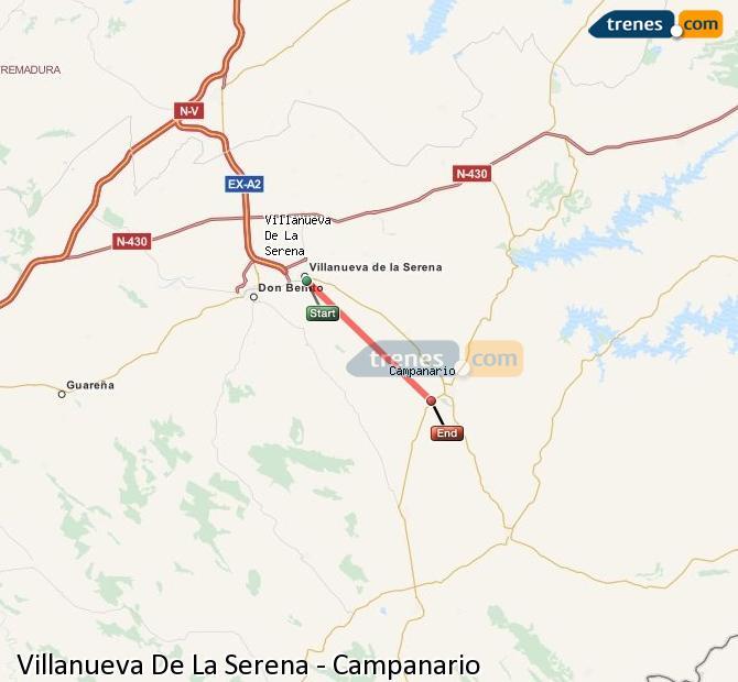 Ingrandisci la mappa Treni Villanueva De La Serena Campanario