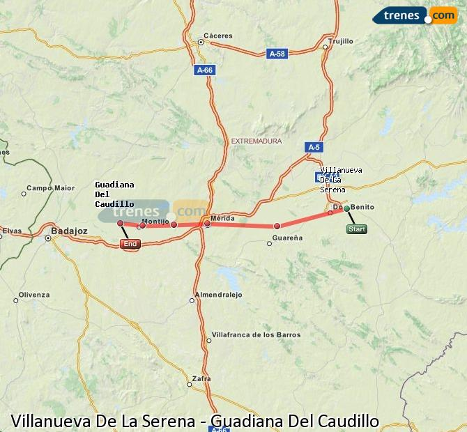 Ingrandisci la mappa Treni Villanueva De La Serena Guadiana Del Caudillo