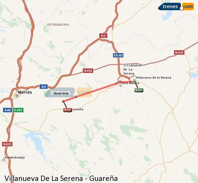 Ingrandisci la mappa Treni Villanueva De La Serena Guareña