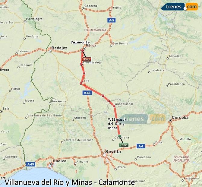 Enlarge map Trains Villanueva del Río y Minas to Calamonte