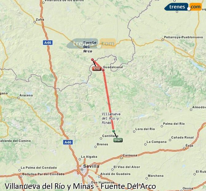 Agrandir la carte Trains Villanueva del Río y Minas Fuente Del Arco
