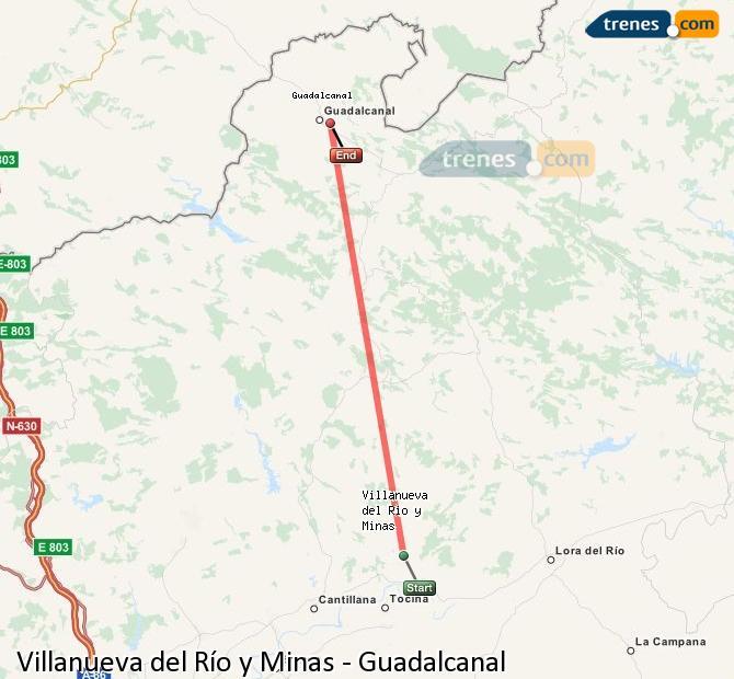 Ampliar mapa Comboios Villanueva del Río y Minas Guadalcanal
