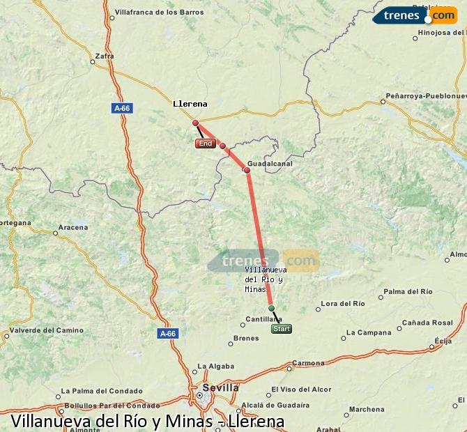 Enlarge map Trains Villanueva del Río y Minas to Llerena