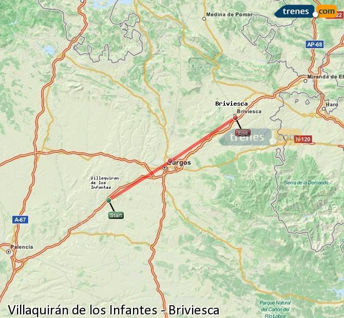 Ingrandisci la mappa Treni Villaquirán de los Infantes Briviesca