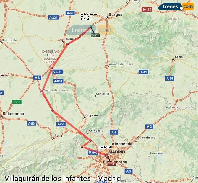 Agrandir la carte Trains Villaquirán de los Infantes Madrid