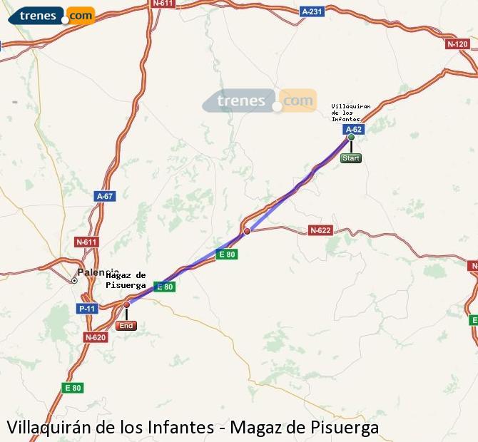 Agrandir la carte Trains Villaquirán de los Infantes Magaz de Pisuerga