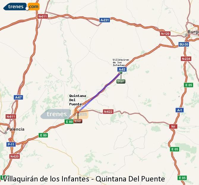 Ampliar mapa Trenes Villaquirán de los Infantes Quintana Del Puente