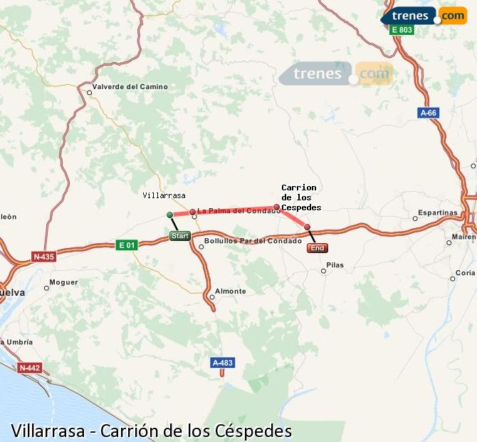 Enlarge map Trains Villarrasa to Carrión de los Céspedes