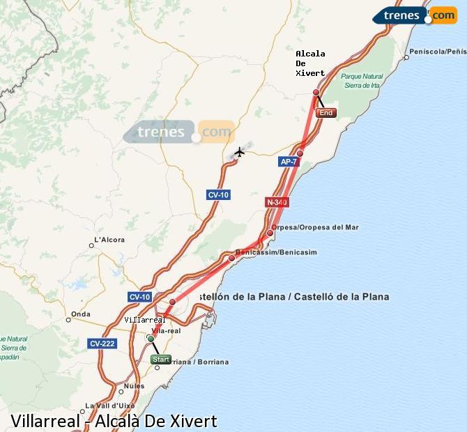 Enlarge map Trains Villarreal to Alcalà De Xivert