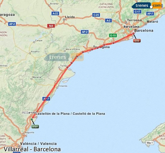 Agrandir la carte Trains Villarreal Barcelone