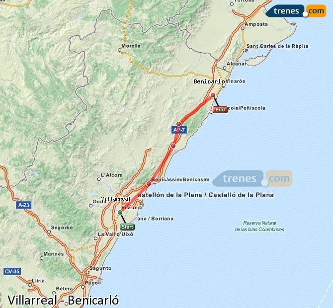 Enlarge map Trains Villarreal to Benicarló