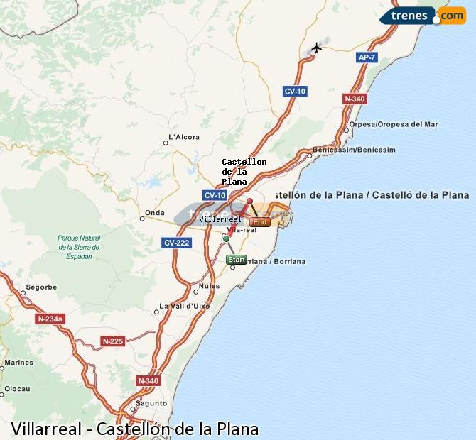 Enlarge map Trains Villarreal to Castellón