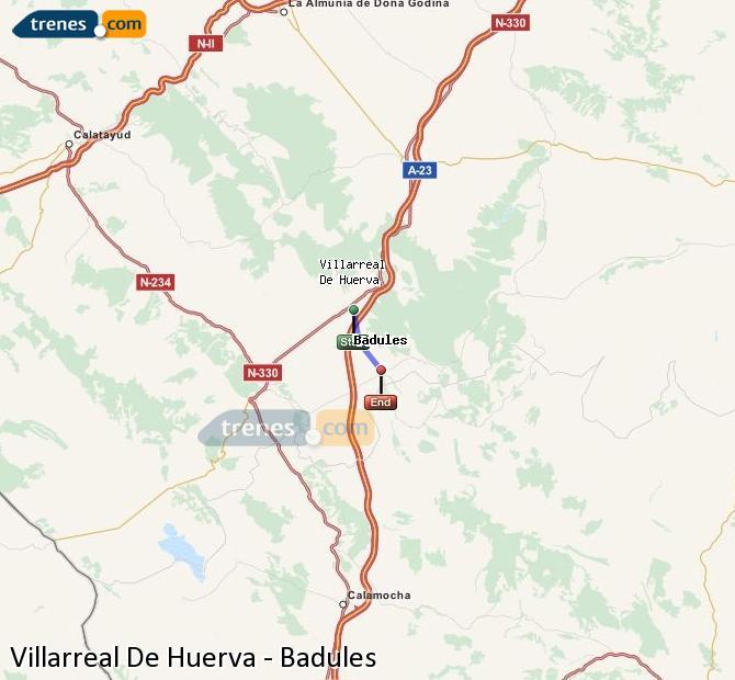 Enlarge map Trains Villarreal De Huerva to Badules