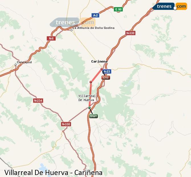 Agrandir la carte Trains Villarreal De Huerva Cariñena