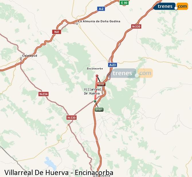 Enlarge map Trains Villarreal De Huerva to Encinacorba