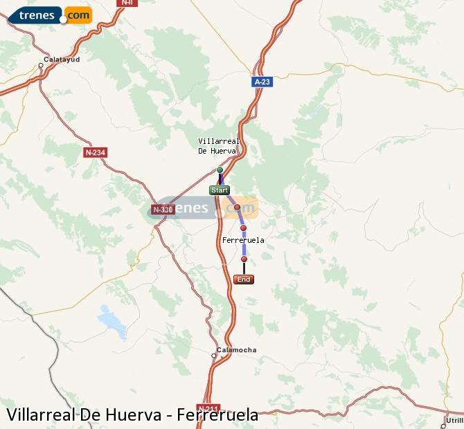 Ampliar mapa Comboios Villarreal De Huerva Ferreruela