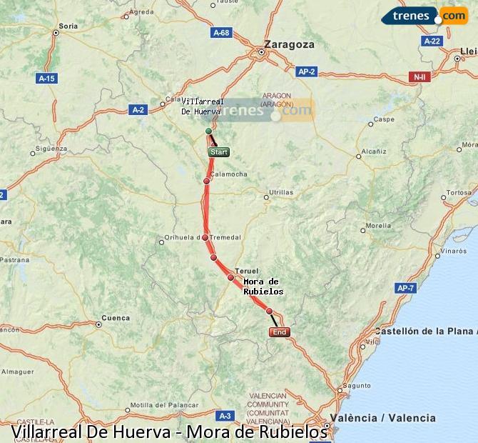 Agrandir la carte Trains Villarreal De Huerva Mora de Rubielos