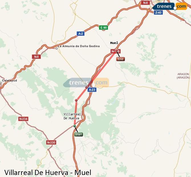 Ampliar mapa Comboios Villarreal De Huerva Muel