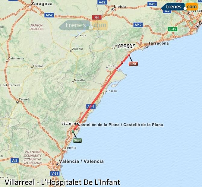 Enlarge map Trains Villarreal to L'Hospitalet De L'Infant
