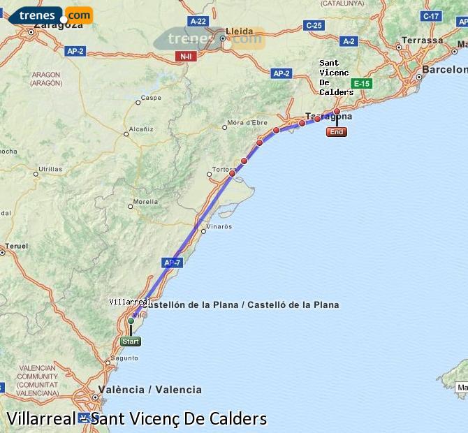 Ingrandisci la mappa Treni Villarreal Sant Vicenç De Calders