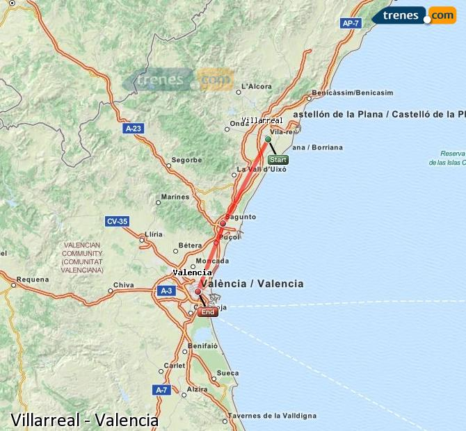 Ingrandisci la mappa Treni Villarreal Valencia