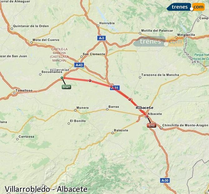 Ampliar mapa Comboios Villarrobledo Albacete