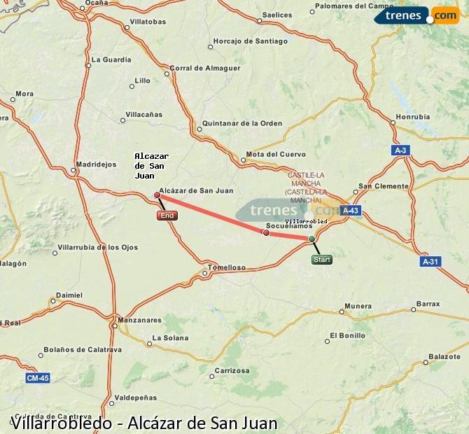 Agrandir la carte Trains Villarrobledo Alcázar de San Juan