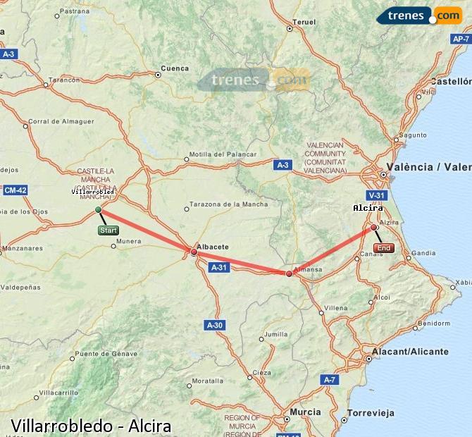 Agrandir la carte Trains Villarrobledo Alcira