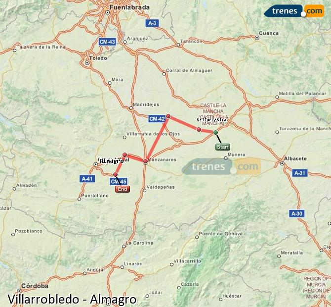 Enlarge map Trains Villarrobledo to Almagro