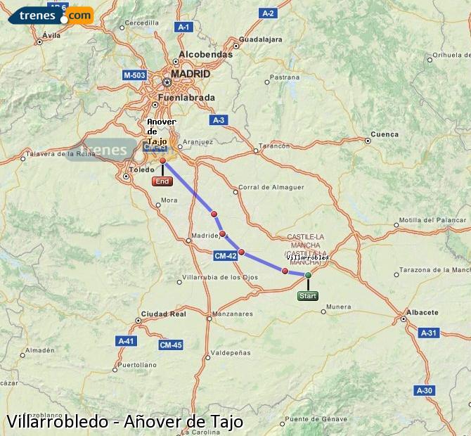 Ingrandisci la mappa Treni Villarrobledo Añover de Tajo