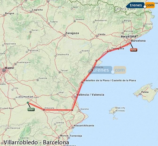 Ampliar mapa Trenes Villarrobledo Barcelona