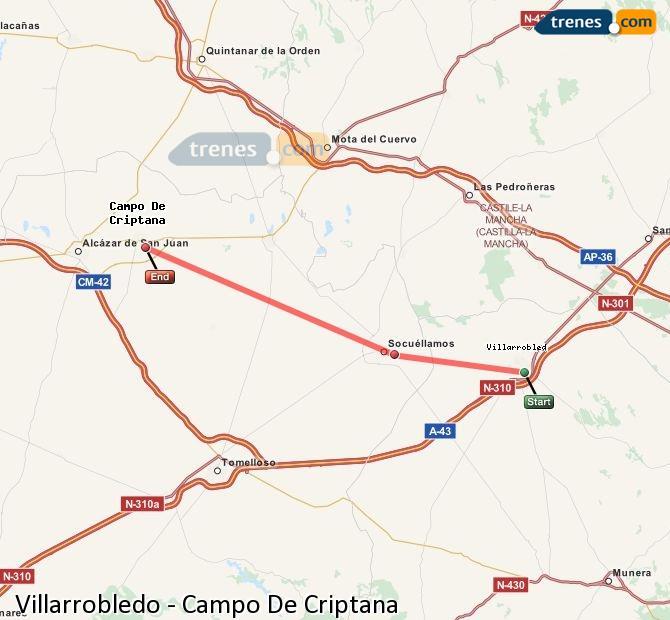 Ingrandisci la mappa Treni Villarrobledo Campo De Criptana