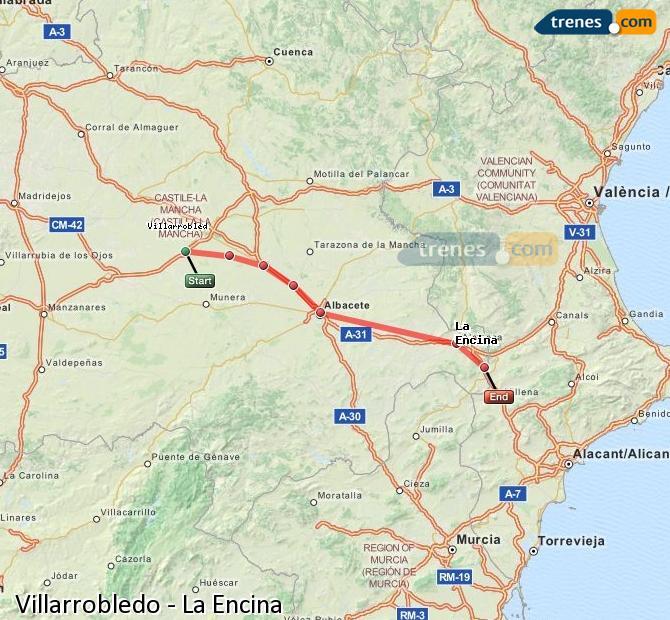 Ingrandisci la mappa Treni Villarrobledo La Encina