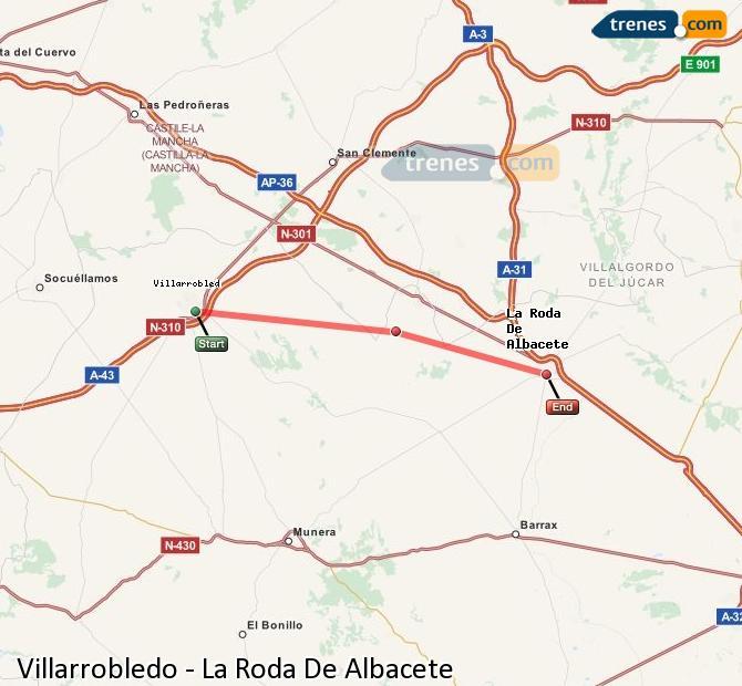 Enlarge map Trains Villarrobledo to La Roda De Albacete