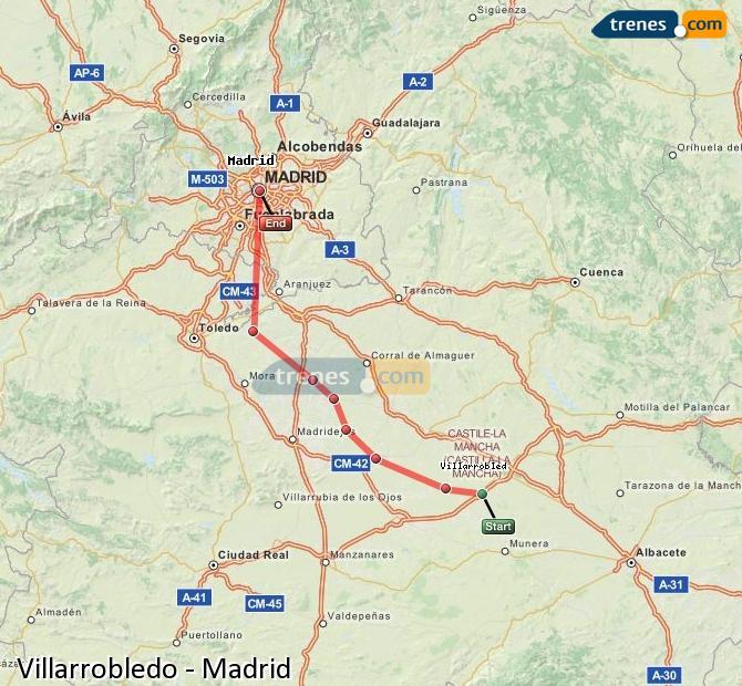 Enlarge map Trains Villarrobledo to Madrid