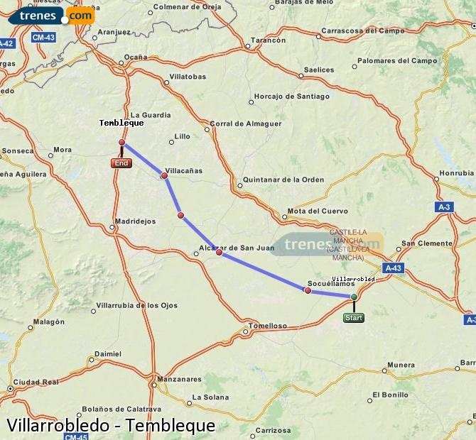 Agrandir la carte Trains Villarrobledo Tembleque