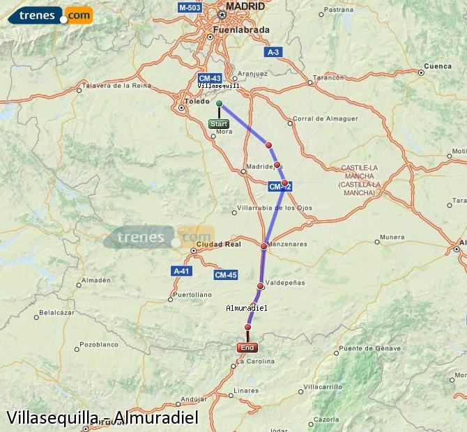 Ingrandisci la mappa Treni Villasequilla Almuradiel