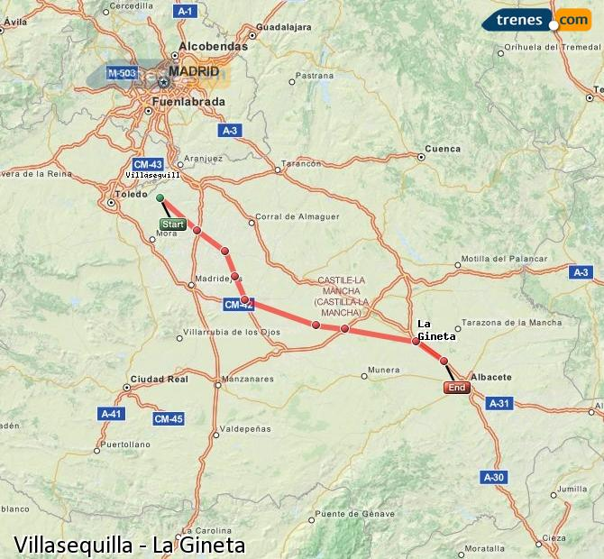 Enlarge map Trains Villasequilla to La Gineta