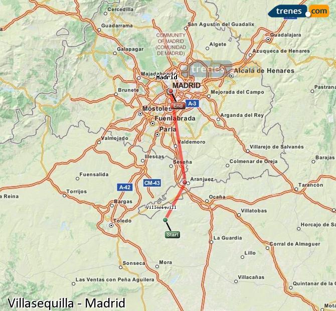 Agrandir la carte Trains Villasequilla Madrid