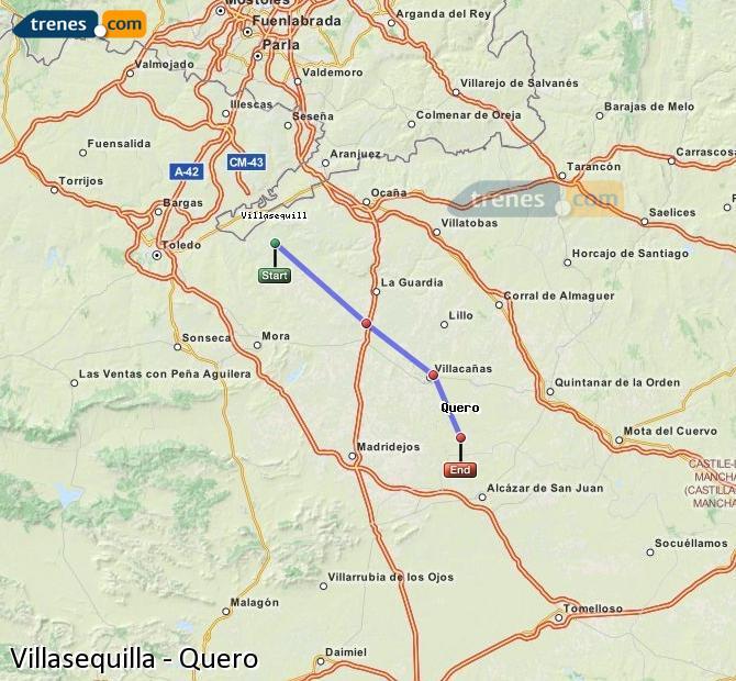 Enlarge map Trains Villasequilla to Quero